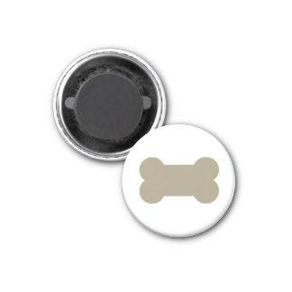 khaki Beige Dog Bones On Bright White Background 3 Cm Round Magnet