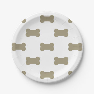 khaki Beige Dog Bones On Bright White Background 7 Inch Paper Plate
