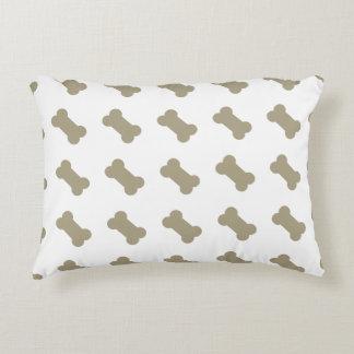 khaki Beige Dog Bones On Bright White Background Accent Cushion