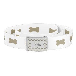 khaki Beige Dog Bones On Bright White Background Belt