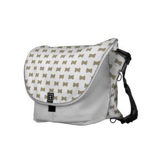 khaki Beige Dog Bones On Bright White Background Courier Bag