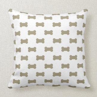 khaki Beige Dog Bones On Bright White Background Cushions