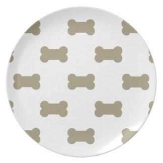 khaki Beige Dog Bones On Bright White Background Dinner Plate