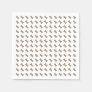 khaki Beige Dog Bones On Bright White Background Disposable Napkins