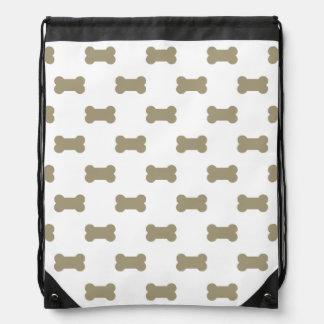 khaki Beige Dog Bones On Bright White Background Drawstring Backpacks