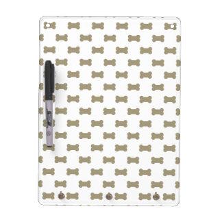 khaki Beige Dog Bones On Bright White Background Dry Erase Boards