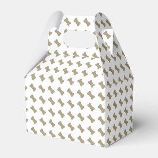 khaki Beige Dog Bones On Bright White Background Favour Box