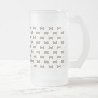 khaki Beige Dog Bones On Bright White Background Frosted Glass Mug