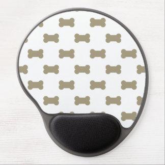 khaki Beige Dog Bones On Bright White Background Gel Mouse Pad