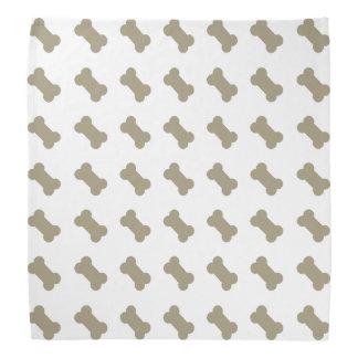 khaki Beige Dog Bones On Bright White Background Head Kerchiefs