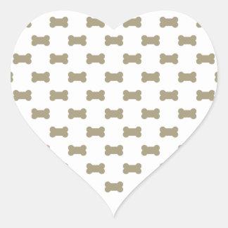 khaki Beige Dog Bones On Bright White Background Heart Sticker