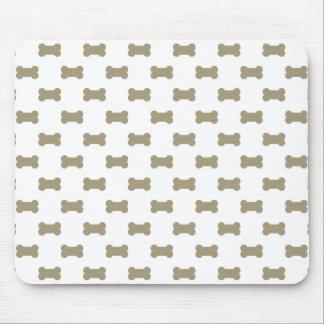 khaki Beige Dog Bones On Bright White Background Mouse Pad