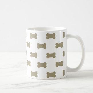 khaki Beige Dog Bones On Bright White Background Basic White Mug