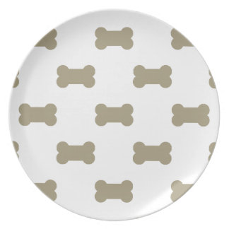 khaki Beige Dog Bones On Bright White Background Party Plates