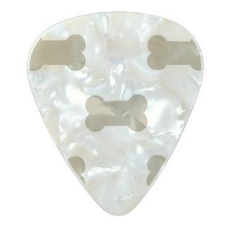 khaki Beige Dog Bones On Bright White Background Pearl Celluloid Guitar Pick
