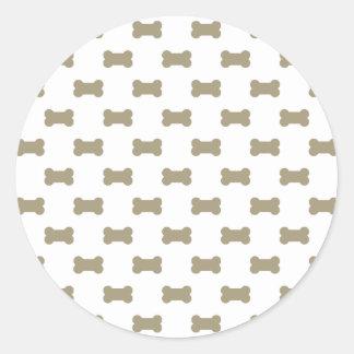 khaki Beige Dog Bones On Bright White Background Round Sticker