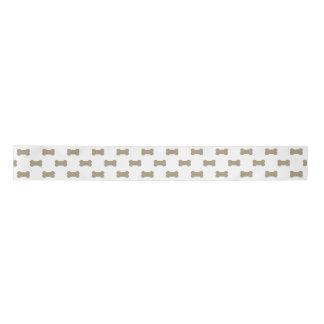 khaki Beige Dog Bones On Bright White Background Satin Ribbon