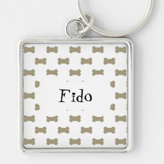 khaki Beige Dog Bones On Bright White Background Silver-Colored Square Key Ring