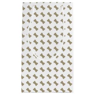 khaki Beige Dog Bones On Bright White Background Small Gift Bag