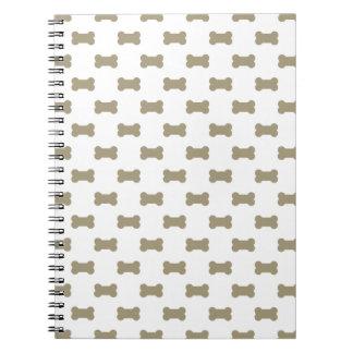khaki Beige Dog Bones On Bright White Background Spiral Note Book
