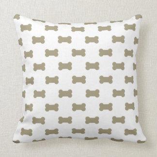 khaki Beige Dog Bones On Bright White Background Throw Cushions