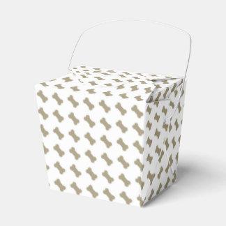 khaki Beige Dog Bones On Bright White Background Wedding Favour Boxes