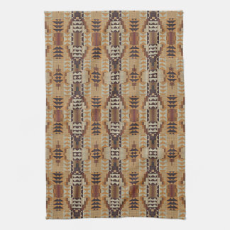 Khaki Beige Taupe Brown Eclectic Ethnic Look Tea Towel