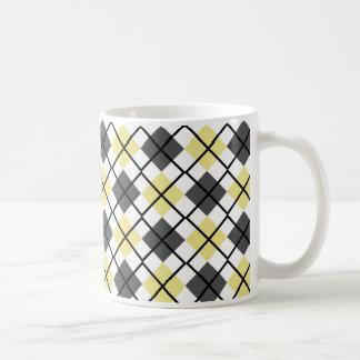 Khaki, Black, Grey on White Argyle Print Mug