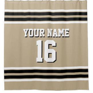 Khaki Black White Stripes Sports Jersey Shower Curtain