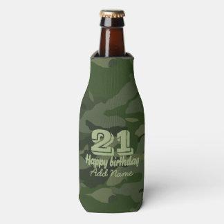 Khaki camouflage bottle cooler