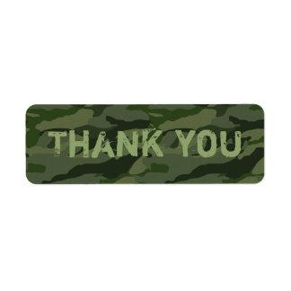 Khaki camouflage return address label