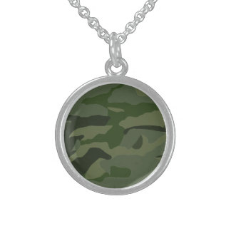 Khaki camouflage sterling silver necklace