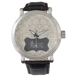 Khaki Damask; Vintage Chalkboard look Watches