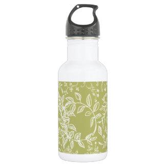Khaki floral blossom pattern 532 ml water bottle