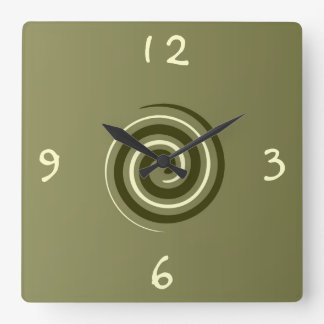 Khaki Green and Lemon >Patterned Kitchen clock
