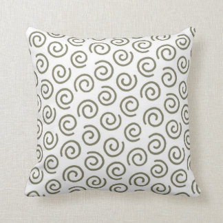 Khaki Green and White Spiral Modern Pattern Throw Pillow