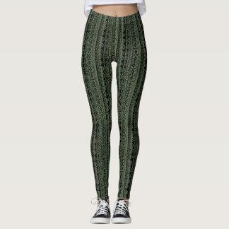 Khaki Green Vertical Tribal Print Leggings