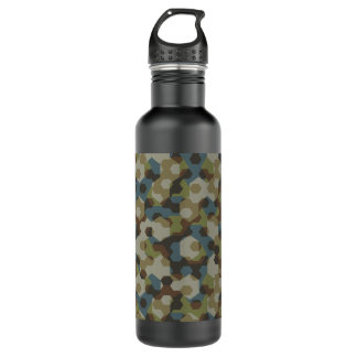 Khaki hexagon camouflage 710 ml water bottle