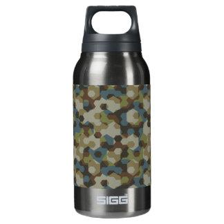 Khaki hexagon camouflage insulated water bottle