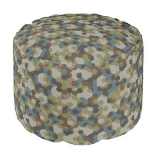 Khaki hexagon camouflage pouf