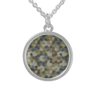 Khaki hexagon camouflage sterling silver necklace