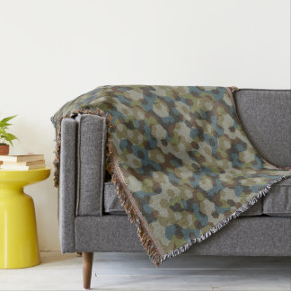 Khaki hexagon camouflage throw blanket