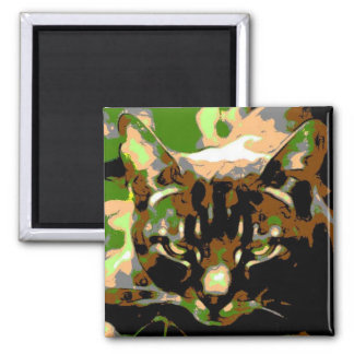 Khaki personalised cat magnet