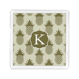 Khaki Pineapple Pattern | Add Your Initial
