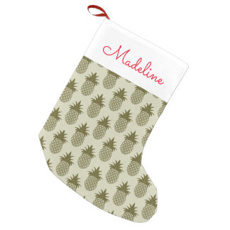 Khaki Pineapple Pattern | Add Your Name Small Christmas Stocking