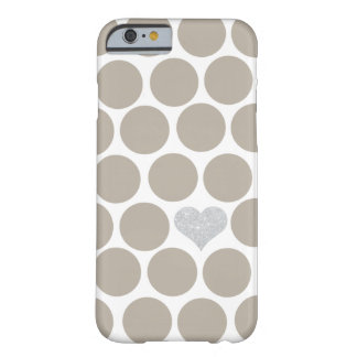 Khaki Tan Polka Dots Silver Glitter Heart Barely There iPhone 6 Case