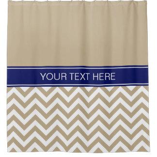 Khaki White LG  Chevron CB Navy Name Monogram Shower Curtain