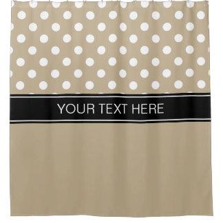 Khaki White LG Dot Black CB Name Monogram Shower Curtain
