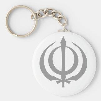Khanda (various colors) basic round button key ring
