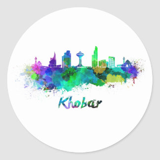 Khobar skyline in watercolor classic round sticker